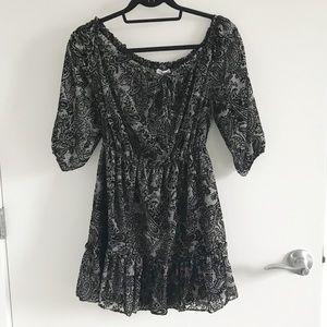 Off Shoulder Ruffle Paisley Dress